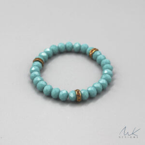 Bright Turquoise Glass Bead & Vintage Rondelle Bracelet