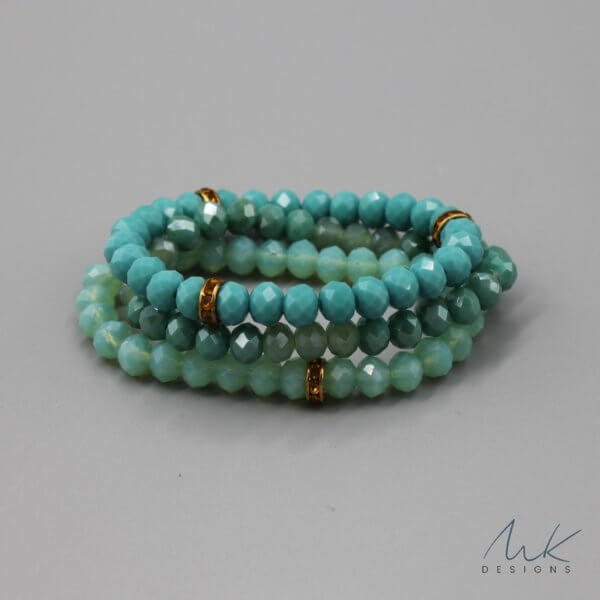Bright Turquoise Glass Bead & Vintage Rondelle Bracelet by MK Designs