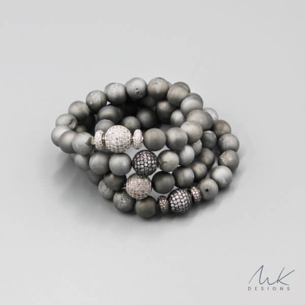 Gray Druzy Bracelet by MK Designs
