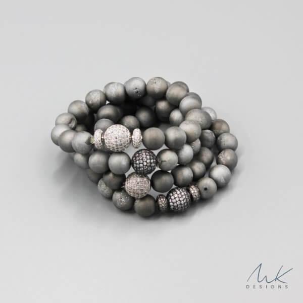Gray Druzy Bracelet by MK Designs
