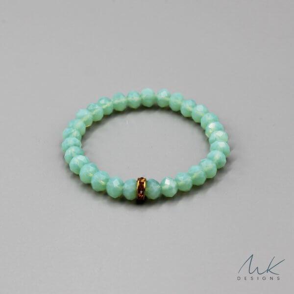 Opaque Turquoise Glass Bead & Vintage Rondelle Bracelet