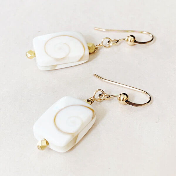 White Pearl Squiggle Earrings by MK Design