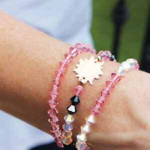 Hammered Bronze Sun Stacking Swarovski Bracelets