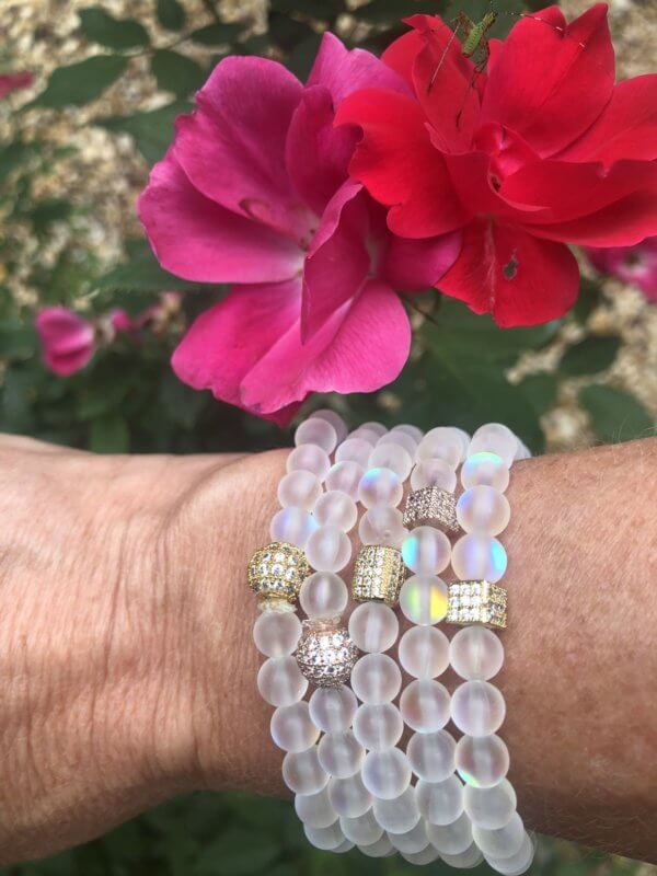 "Rainbow Opalite ""Mermaid Beads"" Bracelet Set by MK Designs"