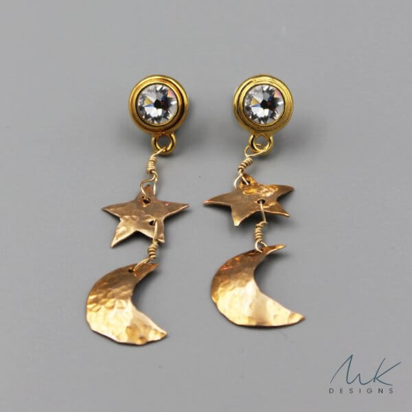 Bronze Clear Crystal Celestial Earrings
