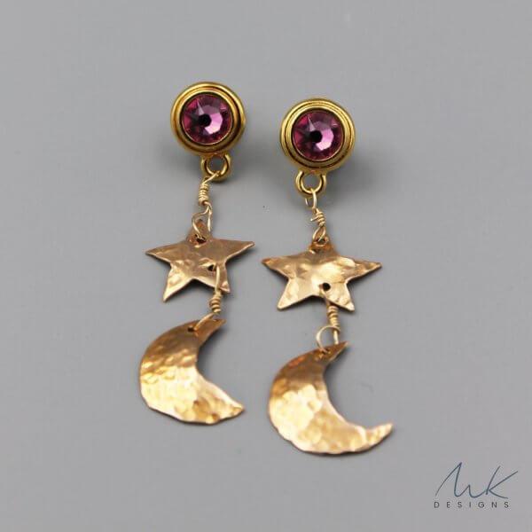 Bronze Pink Crystal Celestial Earrings