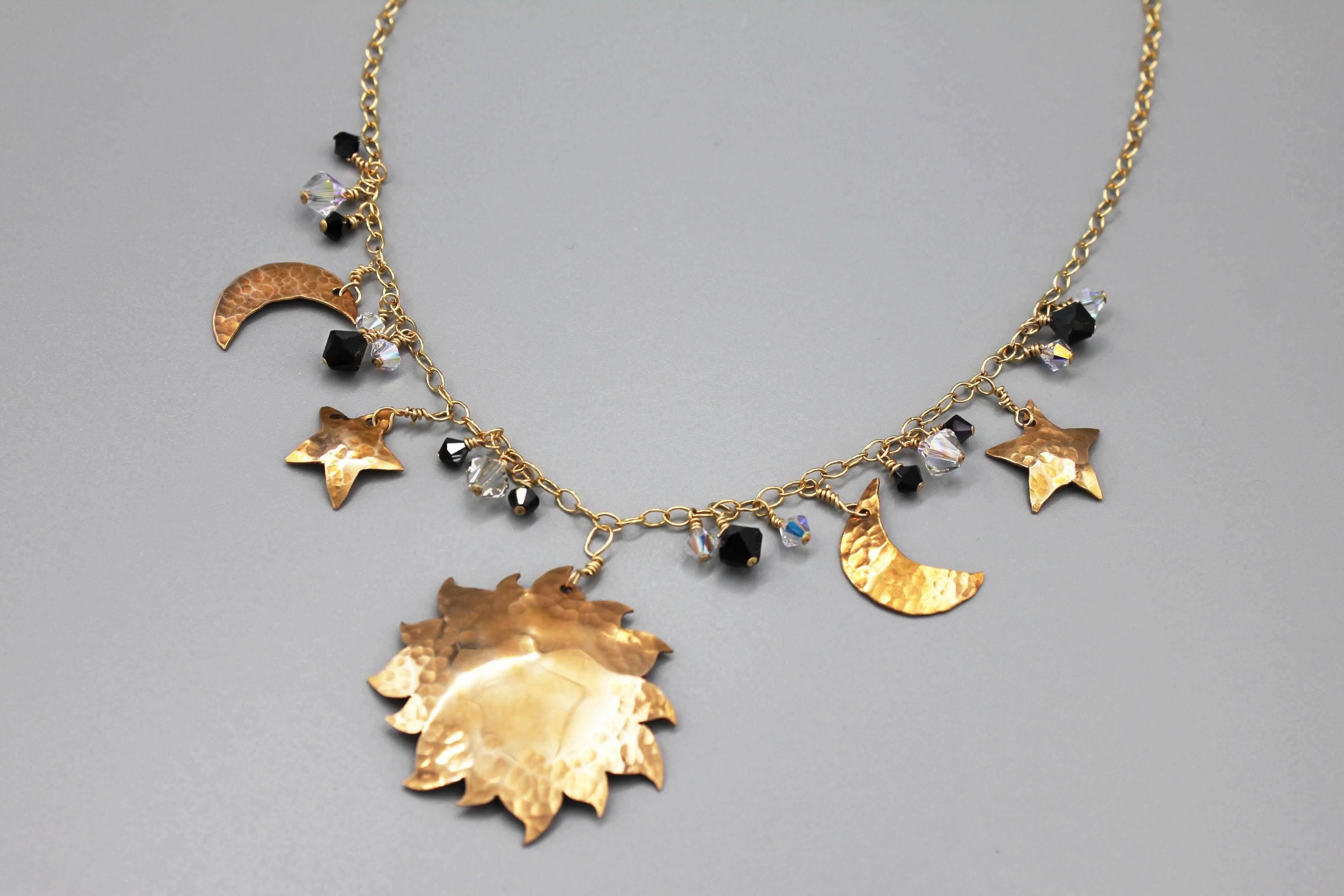 Bronze Crystal Celestial Necklace