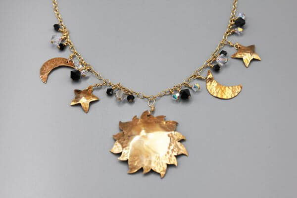 Bronze Black and White Celestial Crystal Pendant Necklace
