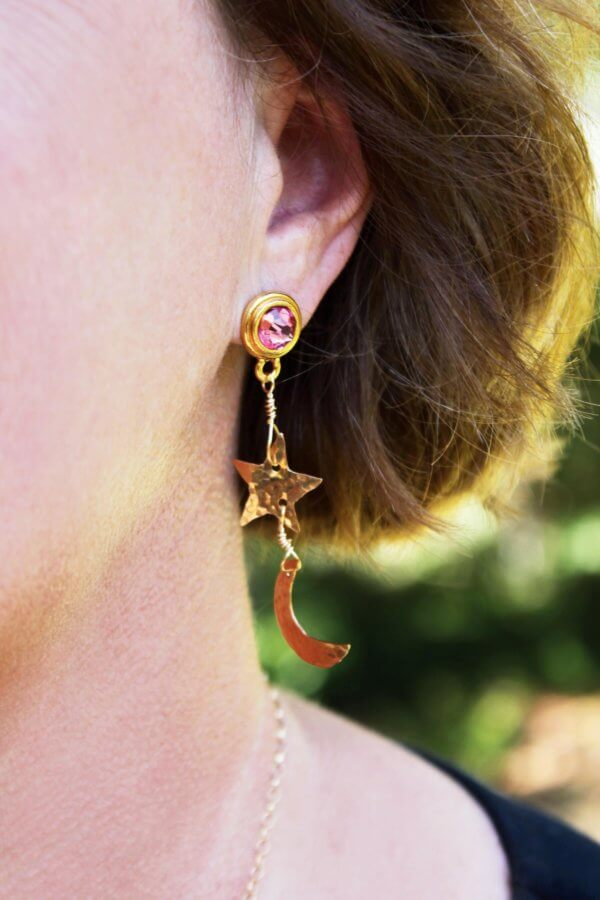 Bronze Pink Crystal Celestial Earrings by MK Designs