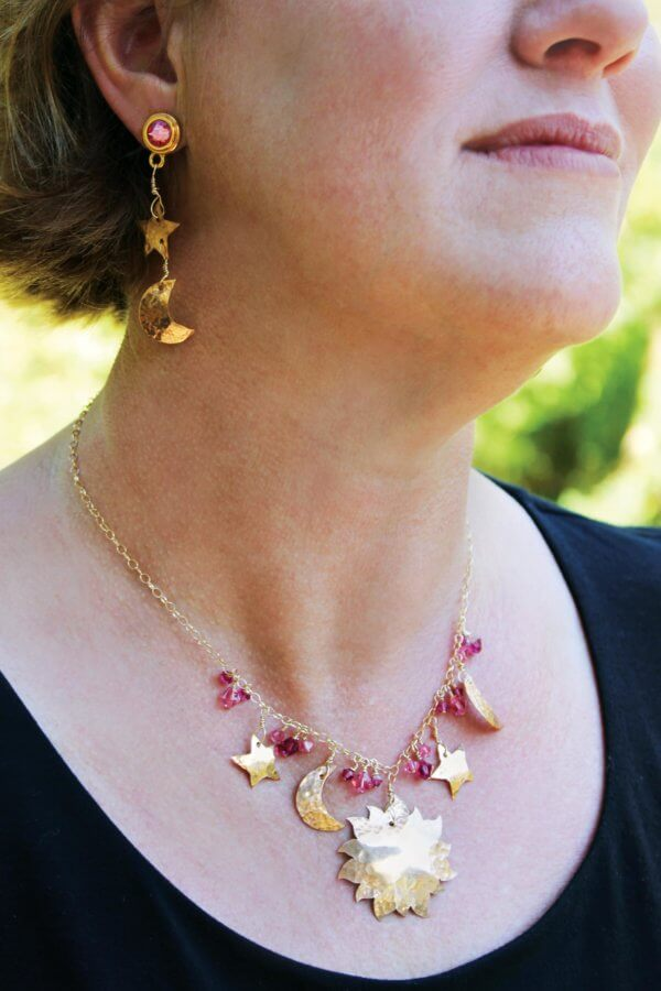 Bronze Pink Crystal Celestial Necklace