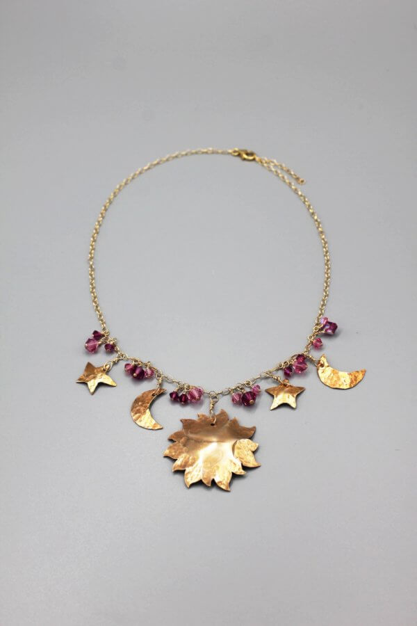 Bronze Pink Crystal Celestial Pendant Necklace