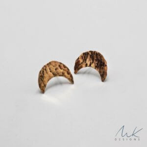 Bronze Moon Stud Earrings