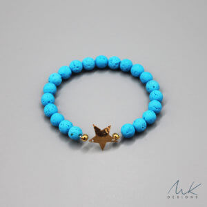 Bronze Star and Blue Lava Bead Bracelet