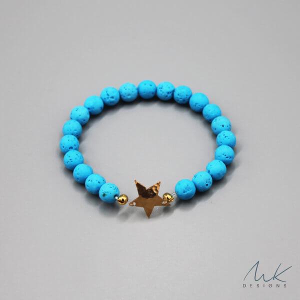 Bronze Star and Blue Lava Bead Bracelet