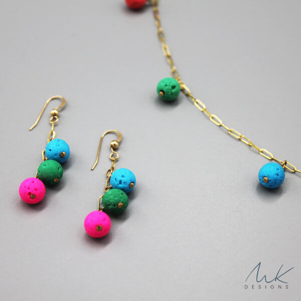 Gold Colorful Necklace and Earrings