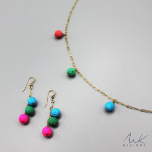 Lava Bead Necklace and Earrings by MK Designs