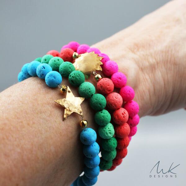 Lava Bead Celestial Bracelets by MK Designs