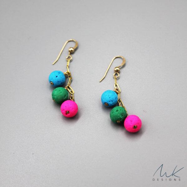 Lava Bead Earrings by MK Designs