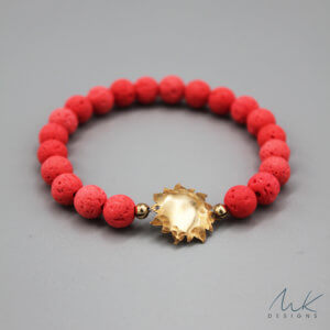 Bronze Sun and Orange Lava Bead Bracelet