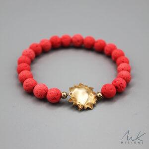 Bronze Sun and Orange Lava Bead Bracelet