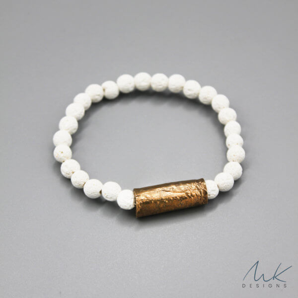 Bronze and White Lava Bead Bracelet