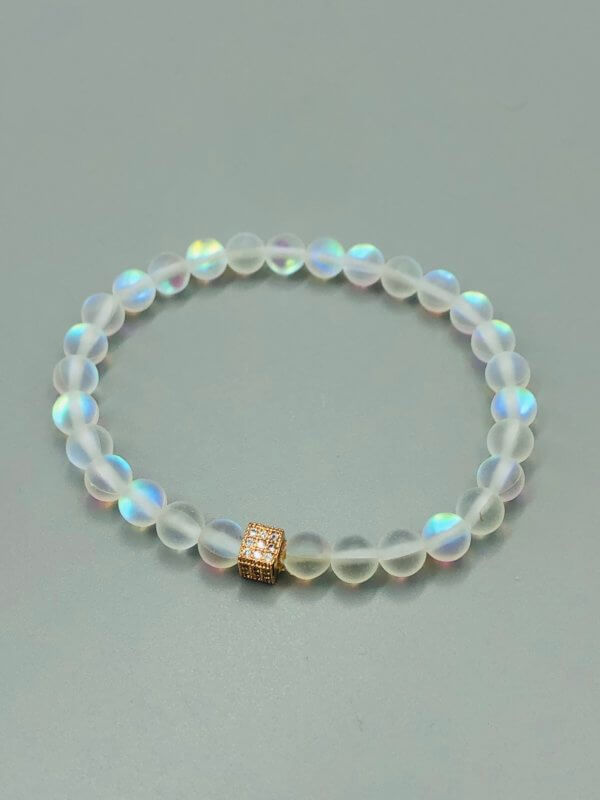 Rose Gold Square Rainbow Opalite Bracelet