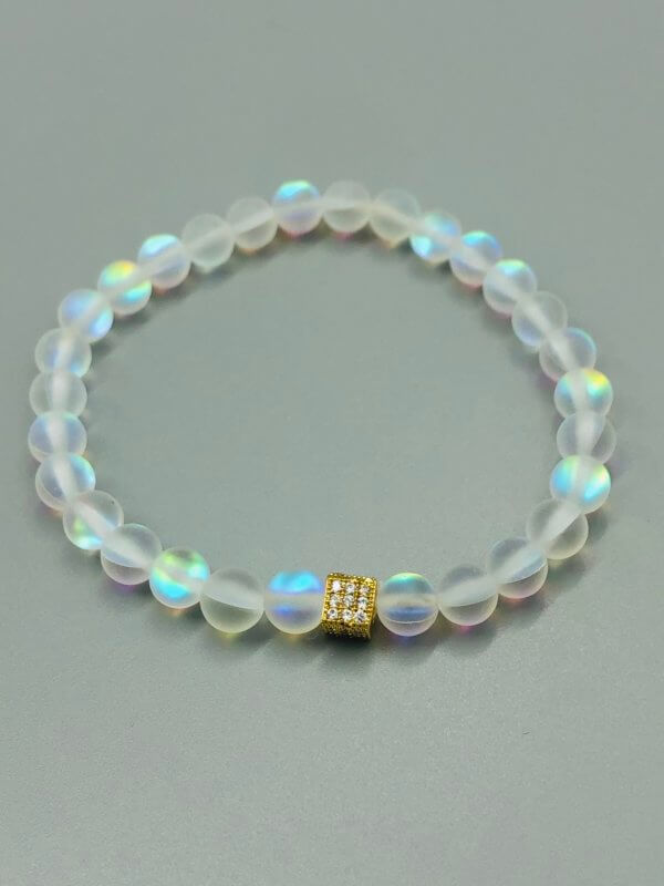Bright Gold Square Rainbow Opalite Bracelet