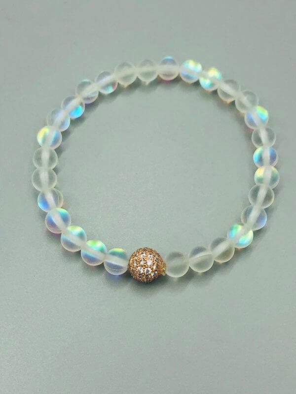 Rose Ball Rainbow Opalite Bracelet