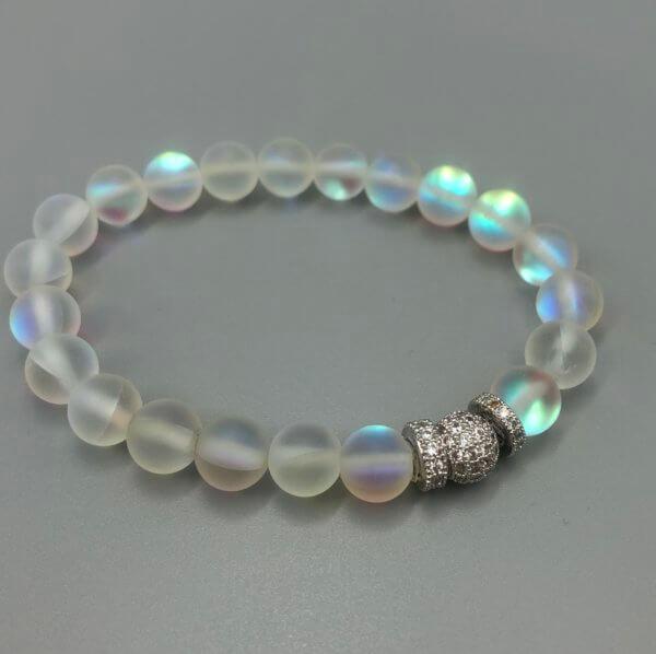 Medium Silver Rainbow Opalite Bracelet by MK Designs