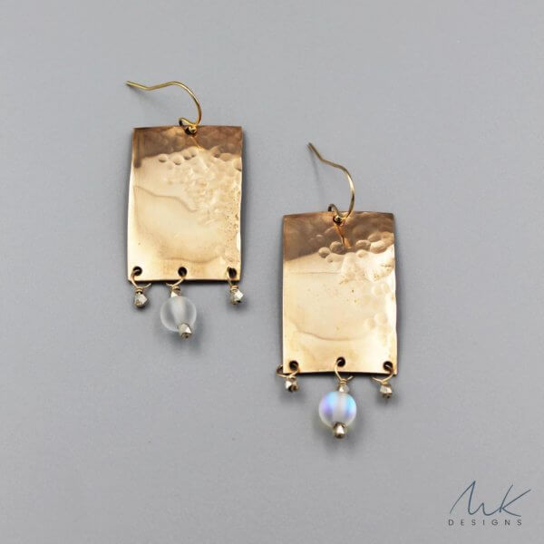 Bronze Rectangle Hammered Earrings by MK Designs