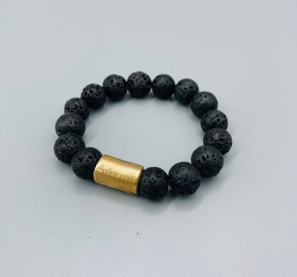 Bronze and Black Lava Bead Bracelet by MK Designs