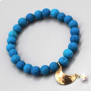 Blue Lava Bead Bronze Moon Charm Bracelet