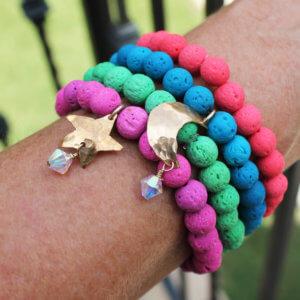 Bright Stacked Lava Charm Bracelets