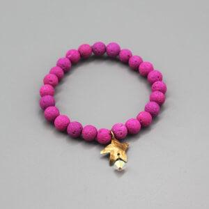 Fuchsia Lava Bead Bronze Star Charm Bracelet