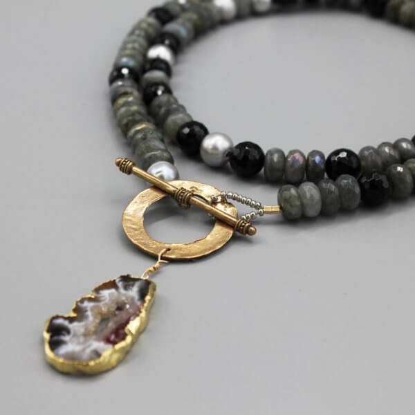Long Pearl, Labradorite and Bronze Necklace