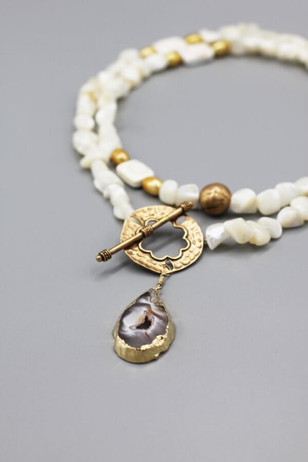 Long Pearl and Bronze Druzy Necklace