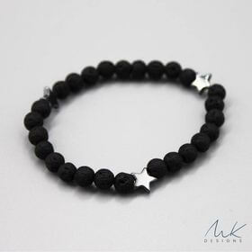 Black Star Lava Bead Bracelet by MK Designs
