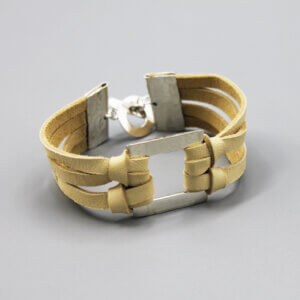 Sterling Silver Square Leather Bracelet