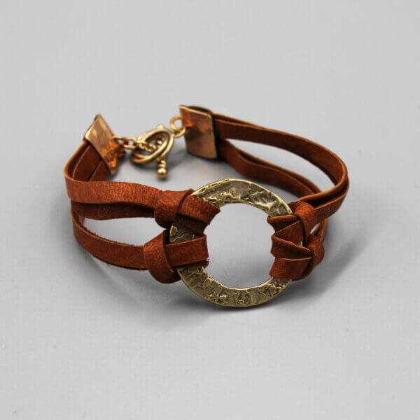 Bronze Circle Leather Bracelet by MK Designs