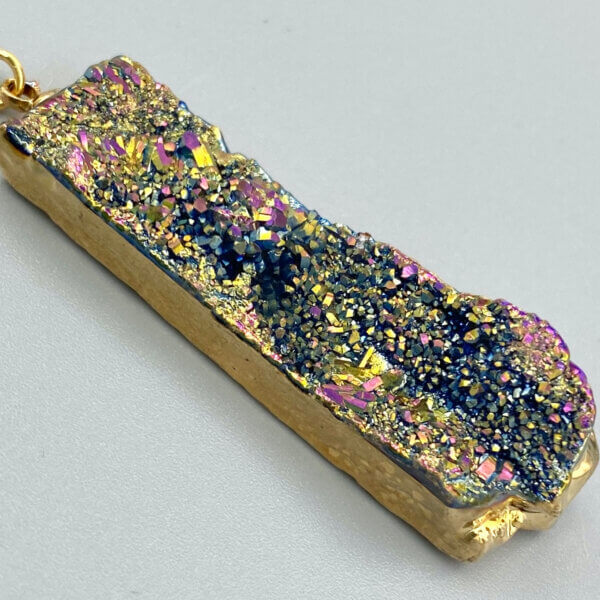 Rainbow Druzy Bar Pendant Necklace by MK Designs