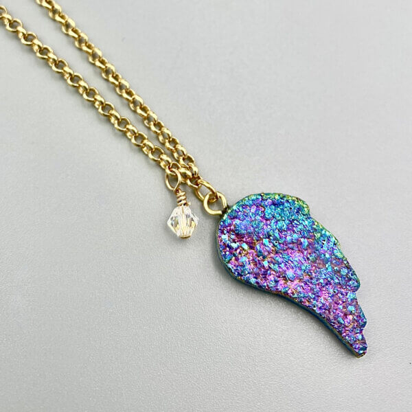 Rainbow Druzy Wing Pendant Necklace