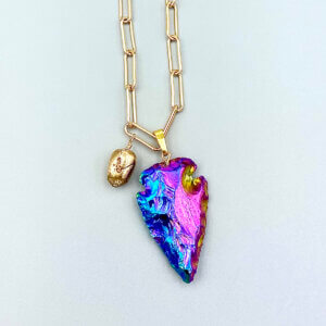 Rainbow Arrowhead Pendant Necklace by MK Designs