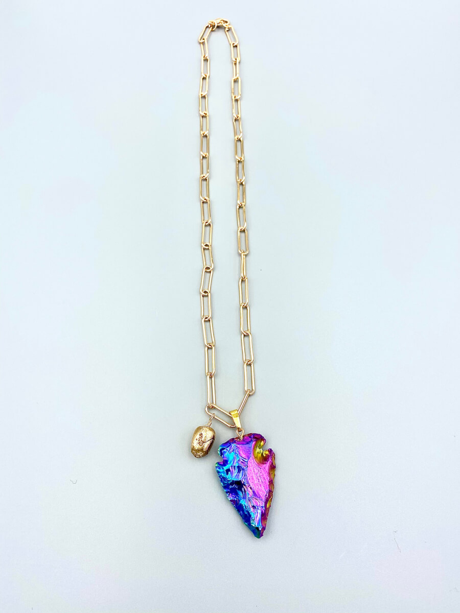 Rainbow Arrowhead Pendant Necklace