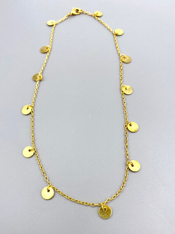 Gold Disk Chain Necklace