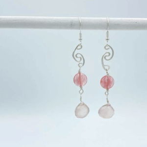 Assymetrical Sterling Pink Earrings