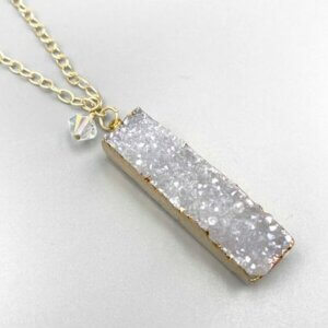 White Druzy Bar Pendant Necklace