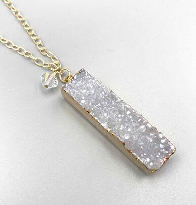 White Druzy Bar Pendant Necklace