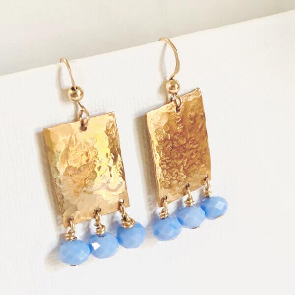 Hammered Bronze Periwinkle Earrings by MK Designs