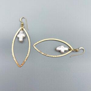 Gold Oval Pearl Cross Charm Earrings