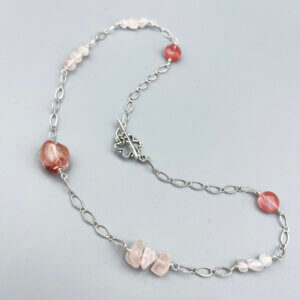 Modern Cherry Blossom Pink Quartz Necklace